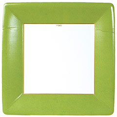Platos Ribete Verde claro Navidad 26 cm, Pack 8 u.