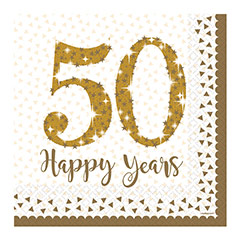 Servilletas 50 aniversario 33 x 33 cm, Pack 16 u.