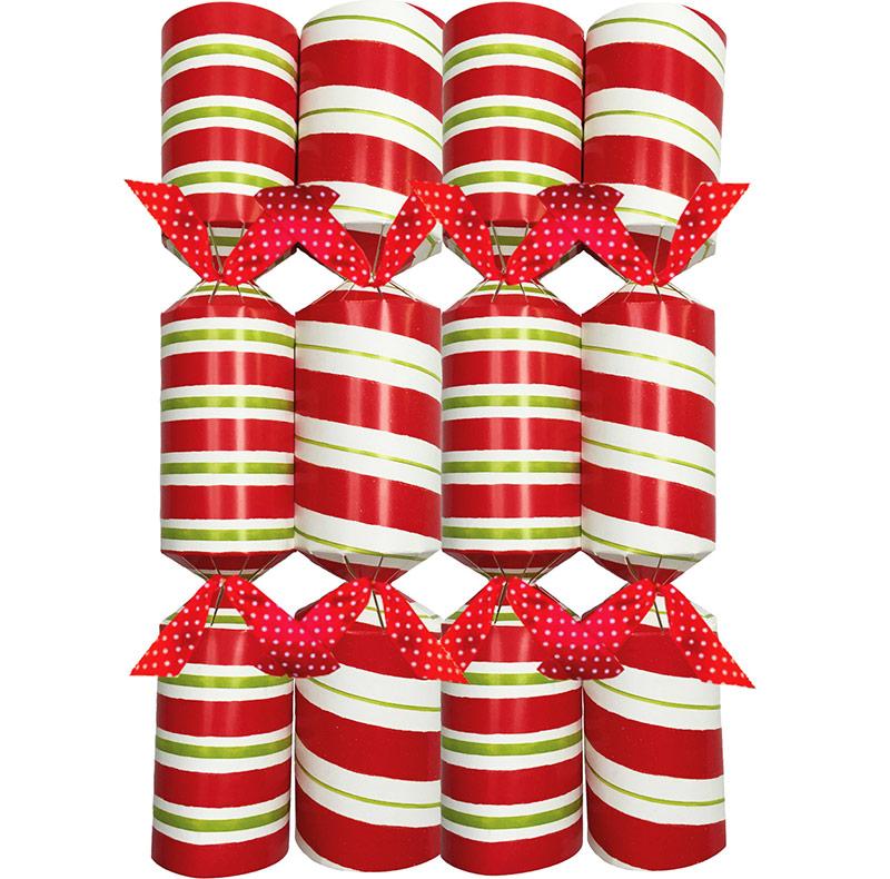Candy Stripe Celebration. Christmas Crackers. 25 cm, Pack 8 u.