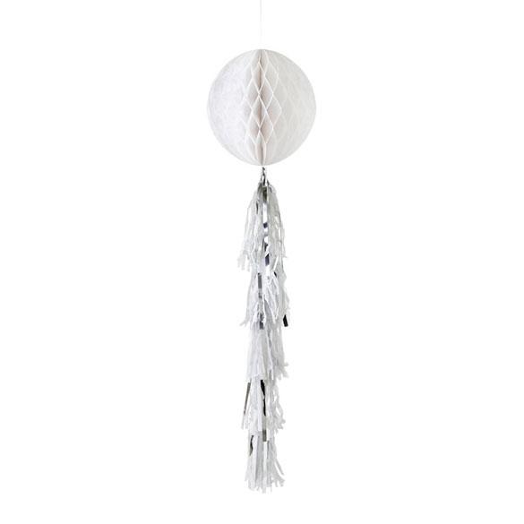 Decoración bola de papel blanca con borla de color plata y blanco