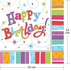 Servilletas Happy Birthday </br>33 x 33 cm. Pack 16 u.