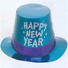 Chistera de cartón Happy New Year metalizada de colores - Ítem1