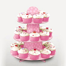 Bandeja cupcakes 3 pisos cartón rosa - Ítem2
