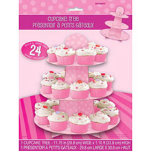 Bandeja cupcakes 3 pisos cartón rosa - Ítem1