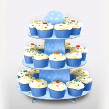 Bandeja cupcakes 3 pisos cartón azul cielo - Ítem2