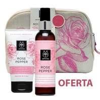 Apivita Rose Pepper Neceser Oferta Aceite de Masaje Corporal Remodelante contra la Celulitis 150 ml + Crema de Exfoliación Profunda, 150 ml
