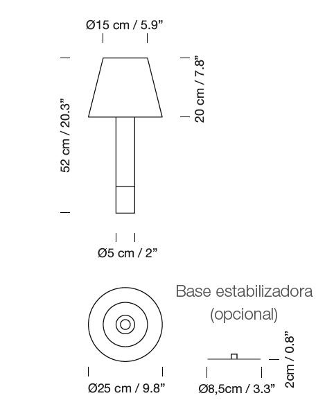 lampara basica mimima, basica minima, lampara basica