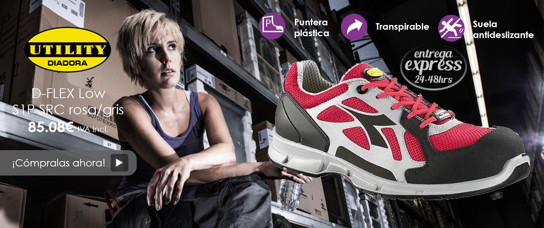 Zapatos de trabajo para mujer Diadora D-Flex low rosa/gris