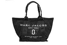 Bolsa de tejido y nylon color negro con logo. Asas cortas. (A40xH30xF15)