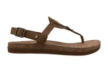 Sandalia de dedo en ante de color tostado. Planta de corcho. Piso de goma de 2 cm. de altura