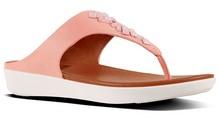 Sandalia de dedo con cristales en la pala, Color rosa. Altura total 3 cm. Piso de goma.