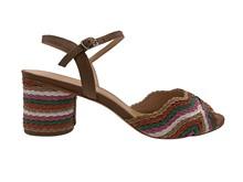 Sandalia con trenza de piel multicolor. Tacón forrado de 5 cm. Piso de cuero