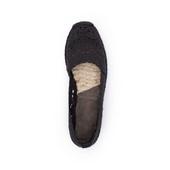 Alpargata tipo camping en crochet negro. Cuña baja de 2 cm. Piso de goma.