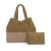 Bolso grande en lona de colores kaki y beige con cartera interior.