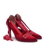 Alpargata con tacón fino de 8 cm. de esparto. En seda de color rojo. Cintas de algodón rojas.