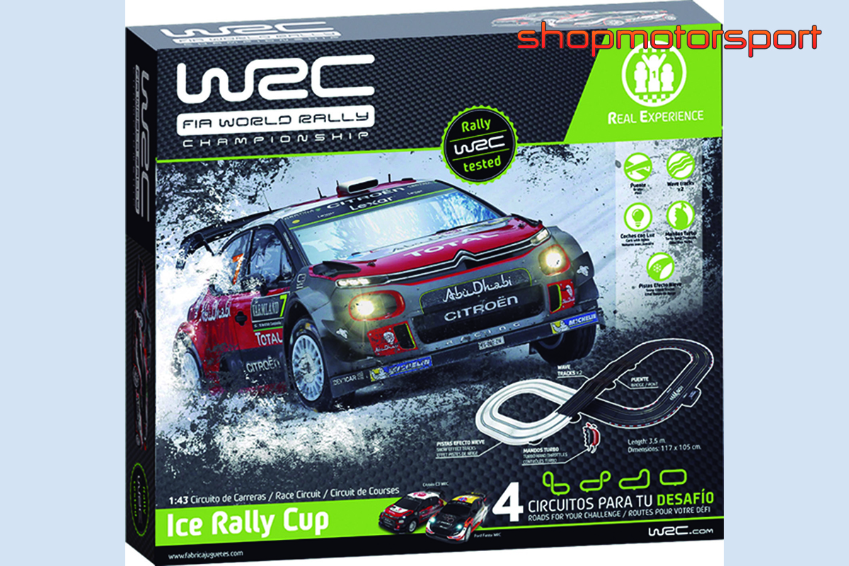 SLOT TRACK SET 1/43 WRC ICE RALLY CUP/FABRICA DE JUGUETES 91000/CITROEN DS3 WRC-FORD FIESTA WRC