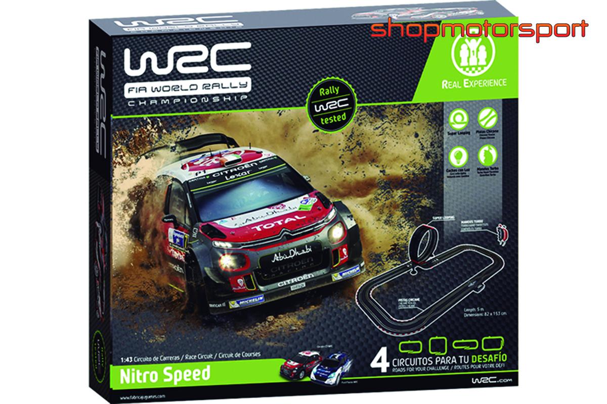 SLOT TRACK SET 1/43 WRC NITRO SPEED / FABRICA DE JUGUETES 91004 / CITROEN DS3 WRC-FORD FIESTA WRC