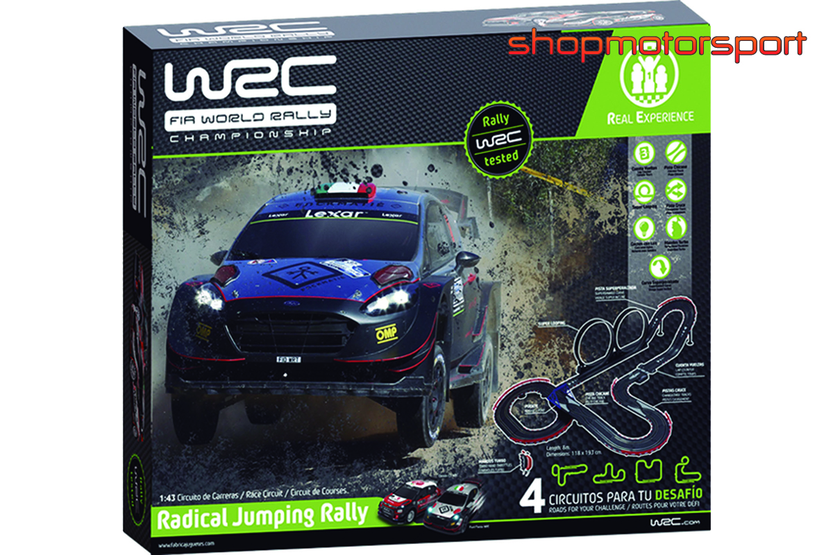 SLOT TRACK SET 1/43 WRC RADICAL JUMPING RALLY / FABRICA DE JUGUETES 91003 / CITROEN DS3 WRC-FORD FIESTA WRC