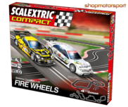 SLOT SET SCALEXTRIC COMPACT C10174S500 FIRE WHEELS / MERCEDES C-KLASSE COUPE DTM-CHEVROLET CORVETTE C6R