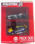 PACK DUO SCALEXTRIC A10168S300 McLAREN MERCEDES F1 MP4-29 / JENSON BUTTON + RENAULT MEGANE TROPHY / MIKE VERSCHUUR