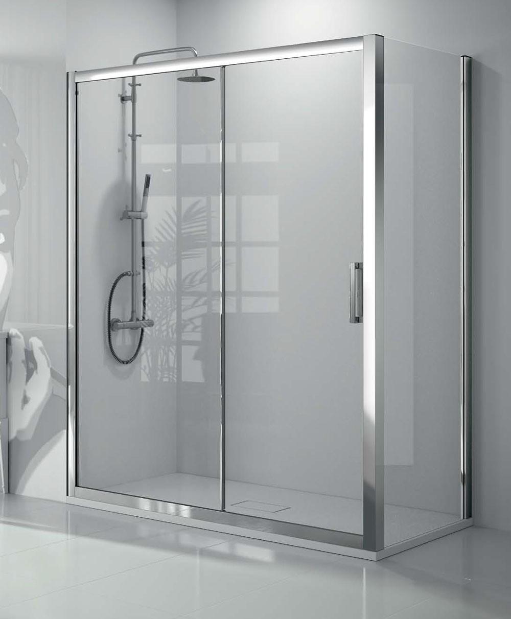 Baño Minusvalidos Puerta Corredera:Mampara de ducha 1 fijo + 1 corredera + 1 fijo serie 300 TR102 + TR103