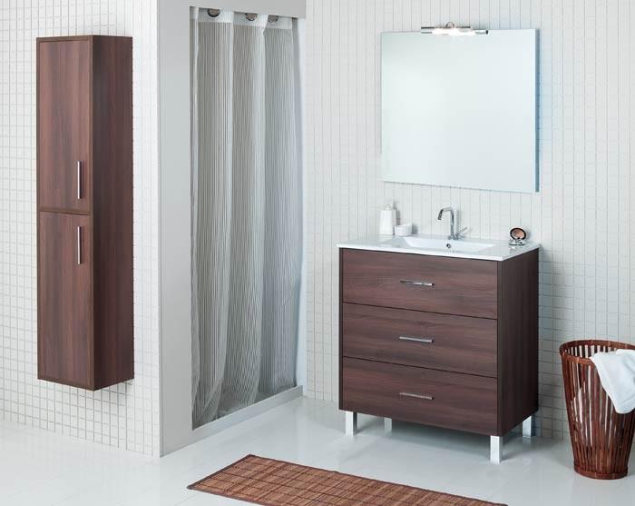 mueble de baño madero, mueble de baño 3 cajones