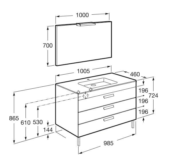 Mueble Baño Gris Antracita:Mueble de baño Pack Debba Standard 3 cajones – Roca