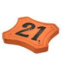 Vista 3/4 del número de ceràmica moldejada
