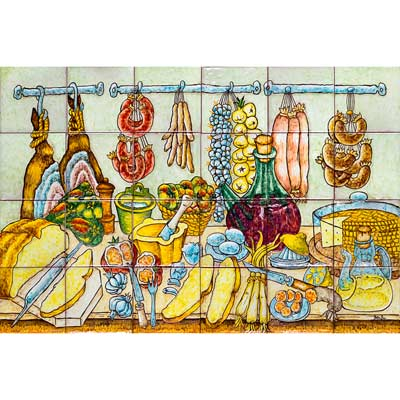 Mural de ceràmica amb bodegó