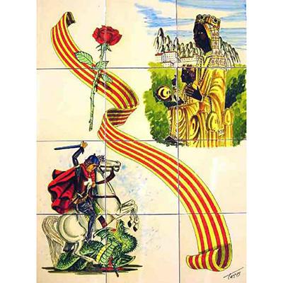 Mural de ceràmica amb St. Jordi i la Moreneta