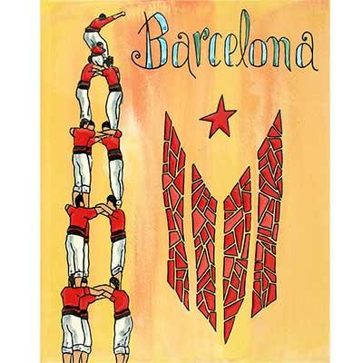 Rajola amb Castellers, estelada i 'Barcelona'