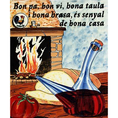Rajola de ceràmica 'Bon pa, bon vi... bona casa'