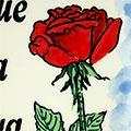 Detall de rajola de ceràmica pintada a mà amb Rosa i text