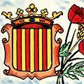 Detall de rajola de ceràmica amb escut de Catalunya i roses