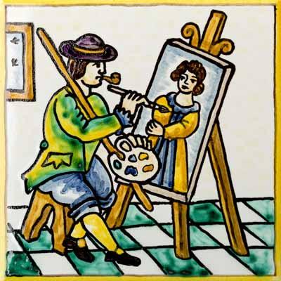 Rajola amb Artista pintor