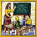 Rejola pintada a mà amb professora