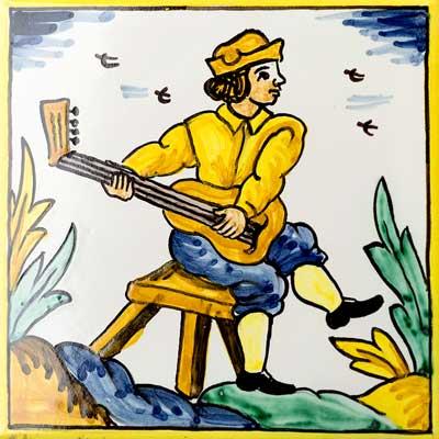 Rajola amb Guitarrista assegut