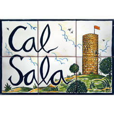 Rètol amb 'Cal Sala' i dibuix elaborat