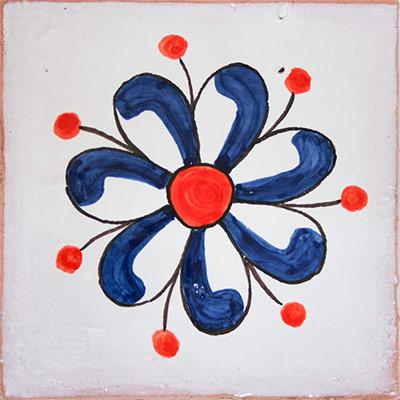 Rajola rústica de ceràmica amb flor