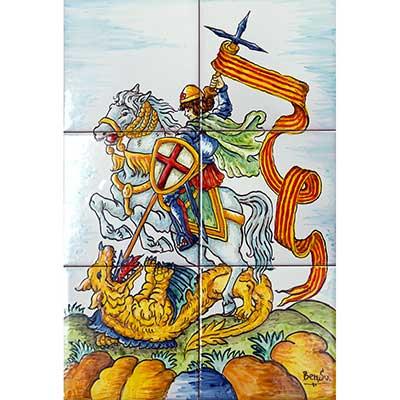 Mural de ceràmica amb St. Jordi