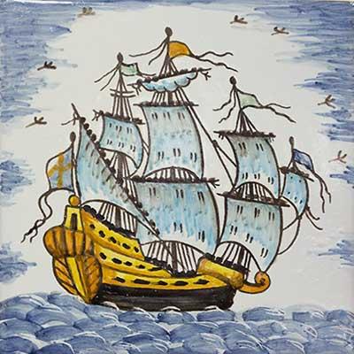 Rajola amb vaixell català