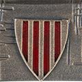 Detall de l'escut del peu (acabat daurat)