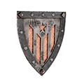 Vista 3/4 de l'escut amb estelada (colors naturals de l'acer)