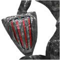 Detall de l'escut amb relleu i pintat