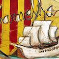 Detall del quadre amb escut de Catalunya més Caravel·la i text Països Catalans i La Caravel·la