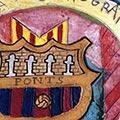 Detall del quadre amb escut de la penya blaugrana de Ponts i Comarca