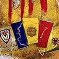 Detall del quadre amb estelada blava i bandera d'Andorra