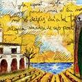 Detall del quadre personalitzat amb vinyes i estelada