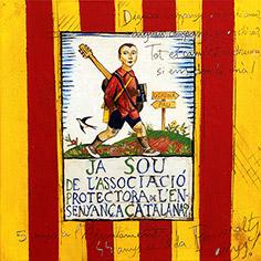 Senyera i poema, amb cartell Josep Obiols.