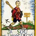 Detall del quadre amb senyera més poema i rèplica del cartell associció protectora de l'ensenyança en català